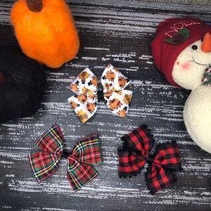 Thanksgiving & Christmas Holiday Hair Bows 3 Pack